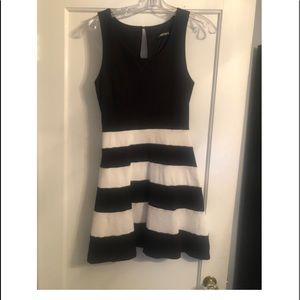 Express - black and white peplum dress